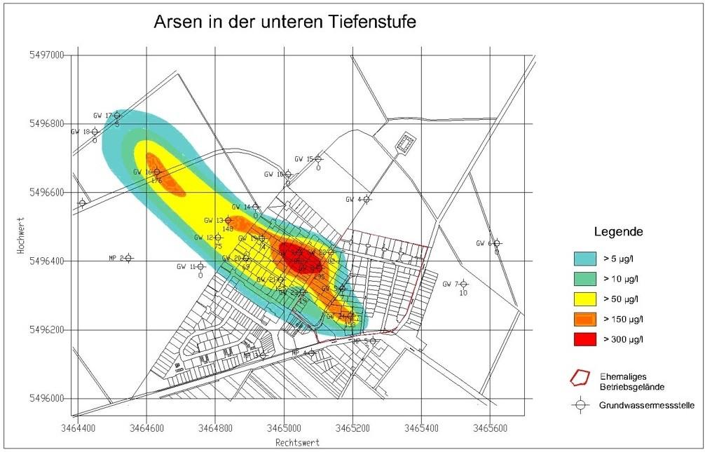 Die Grafik der Sanierer zeigt: Die höchste Arsen-Belastung findet sich westlich des alten Ortskerns von Neuschloß, also außerhalb des ehemaligen Betriebsgeländes der chemischen Fabrik.
