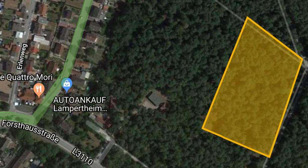 Gelb gekennzeichnet die Lage des Roten Hofs.