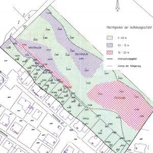 Mächtigkeiten der aufgefüllten Sandgruben der Altlast von Lampertheim-Neuschloß.
